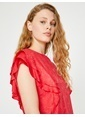 Koton Desenli Volanlı Bluz Kırmızı